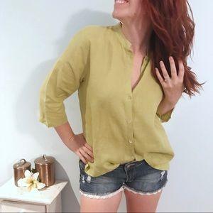 Eileen Fisher 100% Linen Green Button Up Top Shirt